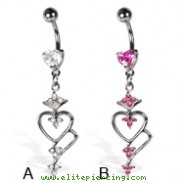 Belly button ring with heart-shaped stone and dangle