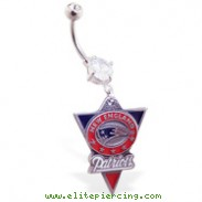 Belly Ring with official licensed NFL charm, New England Patriots