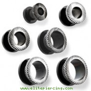 Pair Of Blackline Titanium Anodized Steel Groove Saw Tunnels
