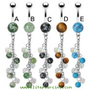 Stone belly ring with dangling chains and stone