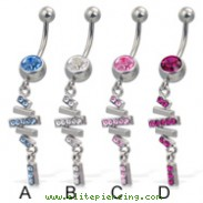 Jeweled belly button ring with dangling multi-stick charm
